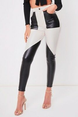 Womens Ladies Black And White Leather Look PU Patch Trouser Leggings 6-14