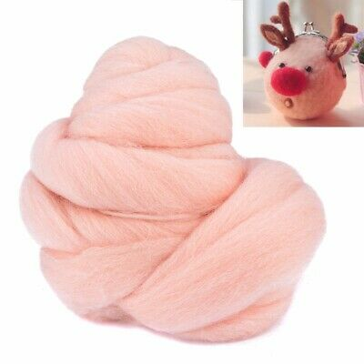 50g Flesh Color Roving Wool Fibre Dyed Spinning  Wool Tops For Needle Felting