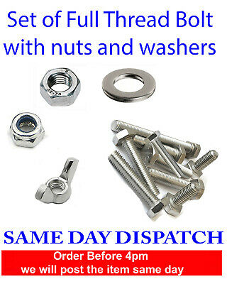 M4 M5 M6 M8 Set Screws Full Thread Bolts With Nuts and Washers Stainless Steel