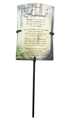 Grave Card & Holder Stake Husband Memory Stand Graveside Memorial Sympathy Him