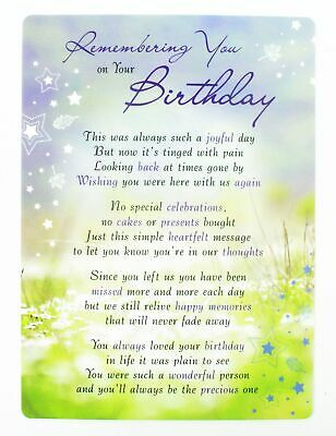 Remembering You On Your Birthday Grave Card Bereavement Keepsakes Graveside Poem