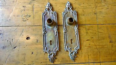 Reclaimed Pair Of Yale & Towne Back Plates Door Handles Brass Gilded Rococo Y&T