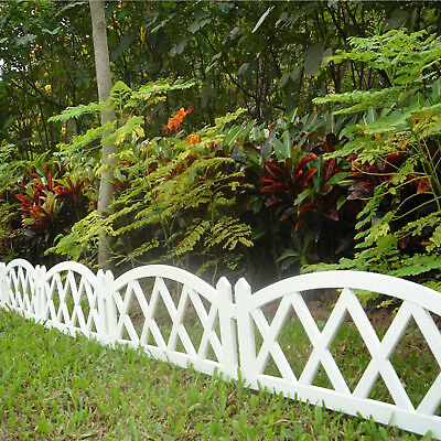 94.5In. Garden Plastic Fence White Picket,Outdoor Lawn Patio Edging Decor Border