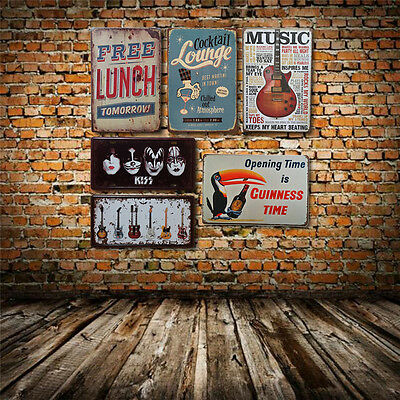 Retro Music Cocktail Metal Tin Signs Bar Pub Wall Door Vintage Plaque Home Decor