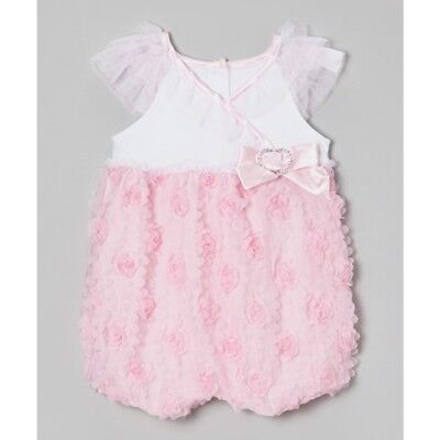 Baby Girls Pink Romper Dress Party Wedding Outfit Size 1-12m 2-24m BNWT