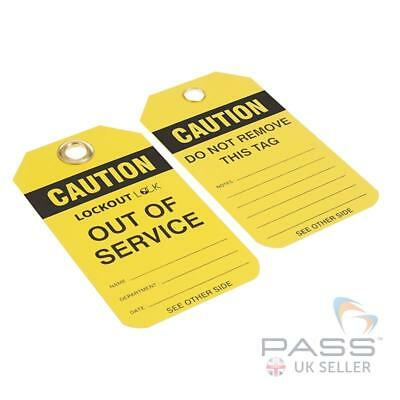 Lockout Tags - ''Caution - Out of Service'' - Pack of 10 - Yellow