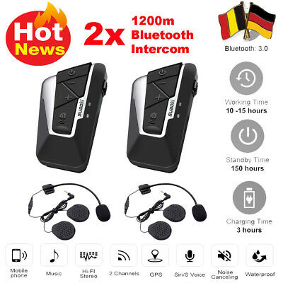 2X Bluetooth Gegensprechanlage Motorrad Intercom Helm Headset Wasserdicht EU