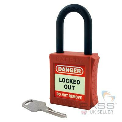Lockout Fully Insulated Padlock with NYLON Shackle - Key Different (Red)