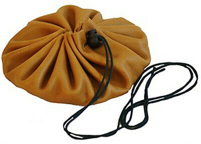 Reenactment-Gaming-Tan-Leather-BUSHCRAFT-TINDER-POSSIBLES-DRAWSTRING POUCH BAG