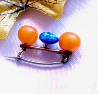Rare Murrle Bennett Brooch MB&Co 9ct Gold & Amber Circa 1900 Signed Early Work