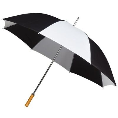 Large Golf Umbrella with Double Ribs & Wooden Handle - Black and White