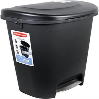 Rubbermaid Step-On Wastebasket Trash Can 13-Gallon Metal-Accent Black Contempora
