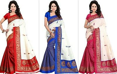 Pakistani Indian Bollywood Designer Kanchipuram Cotton Silk Saree Fancy Ethinic
