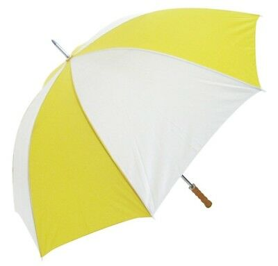 Big Golf Umbrella Windproof Spring & Double Ribs - Wooden Handle - Yellow White