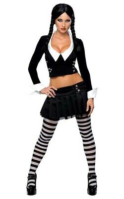 Licensed Sexy Wednesday Addams Family Womens Adult Fancy Dress Halloween Costume  sc 1 st  PicClick UK & LICENSED SEXY WEDNESDAY Addams Family Womens Adult Fancy Dress ...