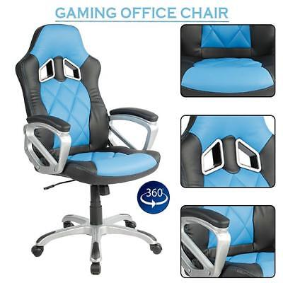 Computer Chair Gaming Racing Adjustable Gaming PU Leather Blue & Black