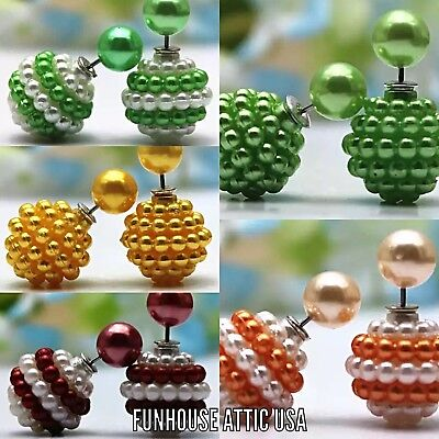 (Lot of 5) Double Sided Color Beaded Earrings Ear Studs Fashion Ball Jewelry NEW