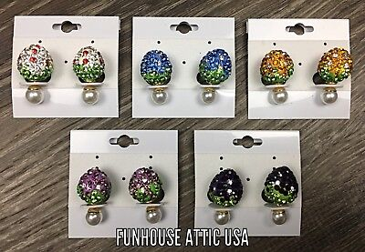 (Lot of 5) Double Sided Strawberry Earrings Ear Studs Fashion Ball Jewelry NEW