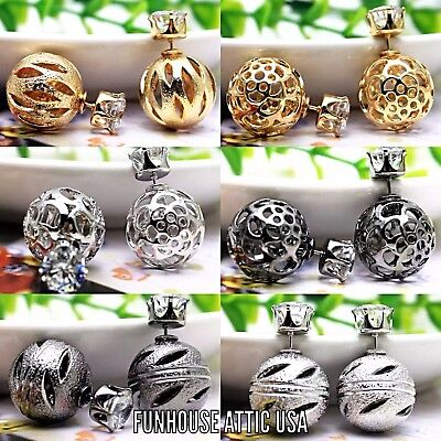(Lot of 6) Double Sided Gold Silver Earrings Ear Studs Fashion Ball Jewelry NEW