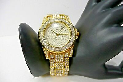 Bling Fashion Watch Jewelry Crystal Rhinestone Gold Tone Steel Band Round Dial