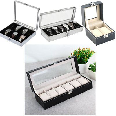 2/6/12 Grid Slots Aluminium Box Collection Jewelry Organizer Watch Case DisplayL