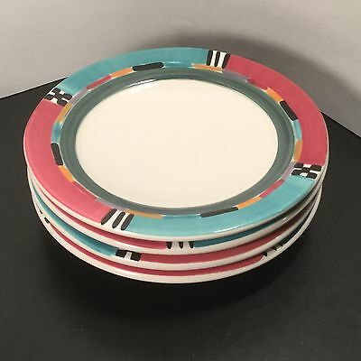 A Mallory - Alegre - Salad Plates - FOUR - 4 - Art Pottery - Hand Painted - Ann