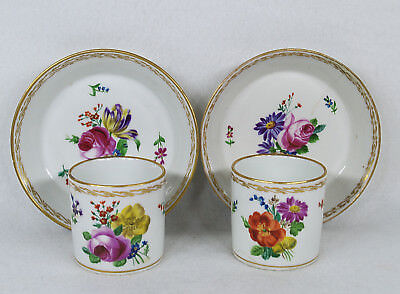 Royal Vienna 18th Century Hand Painted Floral Gilt Pair of Cup and Saucer Set