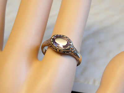 NATURAL mined 1ct Purple Amethyst antique 925 sterling silver ring size 8 USA