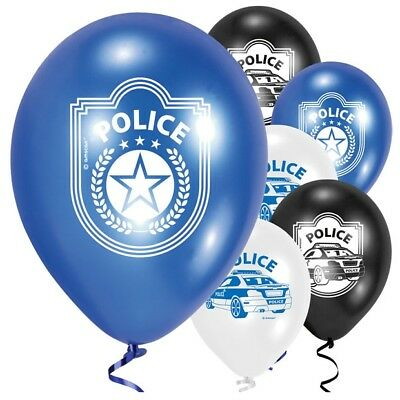 Police 9 Latex Balloons Child Birthday Party Helium Quality