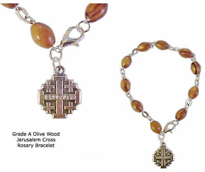 Olive Wood Rosary Bracelet From The Holy Land With Jerum Cross