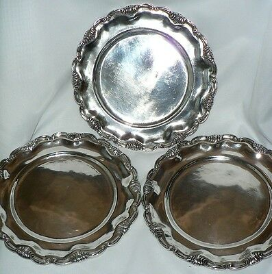 3 Vintage Marked Industria Peruana RMC 925 Sterling Silver Plates 8 3/4 Diameter