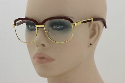Retro Wood Buffs Vintage Style SUN GLASSES Square Gold Frame Clear Lens New