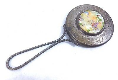 Antique / Vintage Chinese / Japanese Hand Mirror with Enamelled Back. #B7