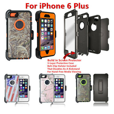 Hard Shell Camo Case w/Screen,Holster Belt Clip fit Otterbox For iPhone 6s Plus