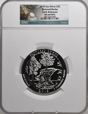 2018 5oz SILVER 25C Pictured Rocks NGC MS 69DPL Early Releases must see!