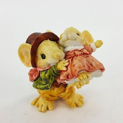 """Little Cheesers Daddy Daughter Dancing 2"""" Mouse Figurine Vtg 1991 Ganz #05318"""