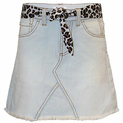 Tractr Girls' Light Wash Denim Jean Skirt Skort w/ Leopard Belt - Select a size