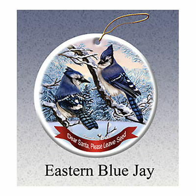 Eastern Blue Jay Howliday Porcelain China Dog Christmas Ornament
