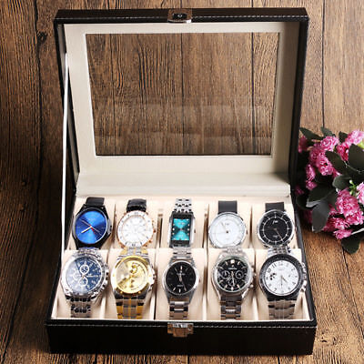 10 Grid Leather Watch Display Case Jewelry Collection Storage Organizer Box Gift