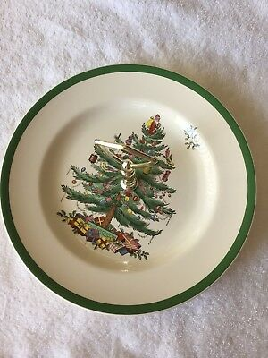 Spode Christmas Tree Cookie/Tidbit Serving Tray-Plate-Dish w/handle Vntg-England