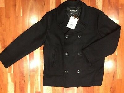 NEW WITH TAGS FILSON MADE IN USA LIMITED HATCH PEACOAT XL Dark Navy $395