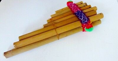 Vintage Asian 13 note Bamboo Wooden PAN Flute Hand Made 30 cm X 10 cm  X 4 cm