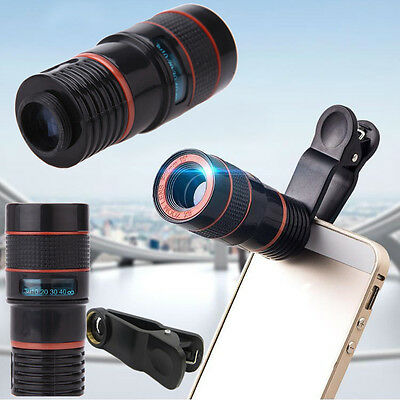 8x Zoom Optical Camera Telescope Lens+Universal Clip Kit For Mobile Cell Phone #