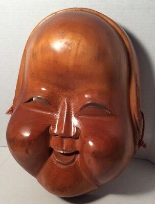 Ichii-itto-bori Okame Hand Carved Art Wall Hanging Large Mask Wooden Japanese