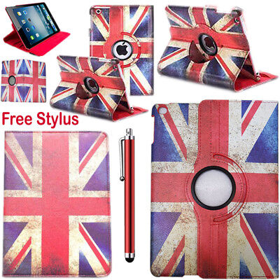 Union Jack Leather 360 Degree Rotating Stand Case Cover Fits Apple iPad models