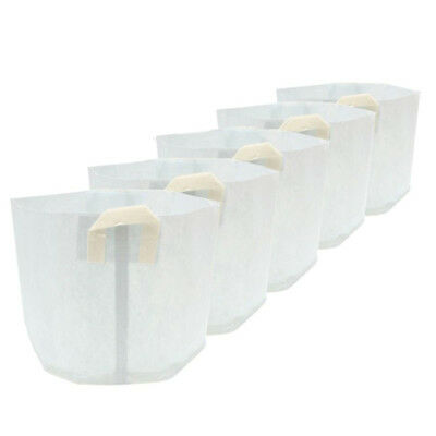 5x Nonwovens Plant Grow Bags Smart Pots Container White L6N5 A3U7