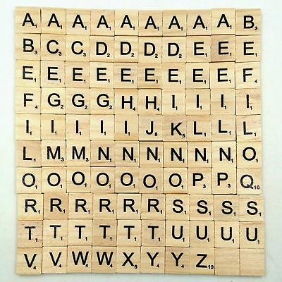 100Pcs Wooden Alphabet Scrabble Tiles Black Letters & Numbers For Craft Wood F&R