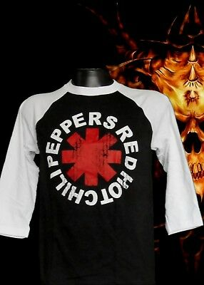 New!! Red Hot Chili Peppers Rock Baseball Tee Black Men's Sizes