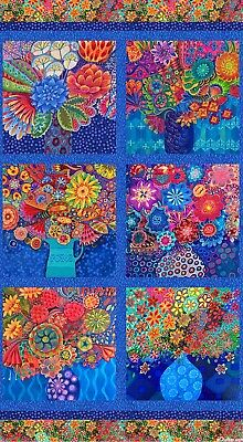 Floral Fantasy Quilt Panel * Arrangements * Digital Print * New *  Free Post *