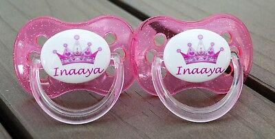 Personalised Dummy Pacifier Soother, *twin Pack*  All Teats, Pink Crown 1